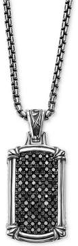 Scott Kay Men's Black Sapphire Dog Tag Pendant Necklace (1-3/8 ct. t.w.) in Sterling Silver