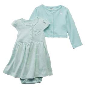 Carter's Infant Girls Baby Outfit Green Stripe Dress & Cardigan Sweater Set 6m