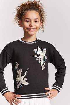 Forever 21 Girls Crane Graphic Sweater(Kids)