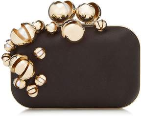 Jimmy Choo CLOUD Black Satin Clutch Bag with Oyster Pearl Embroidery