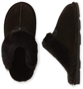 BearPaw Black Real Sheepskin Fur Slippers