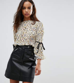 Fashion Union Petite High Neck Blouse In Floral With Tie Sleeves