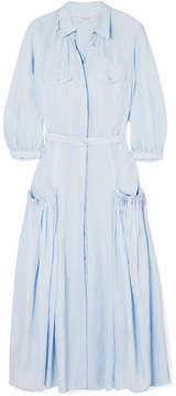 DAY Birger et Mikkelsen Gabriela Hearst - Woodward Pintucked Linen Midi Dress - Sky blue