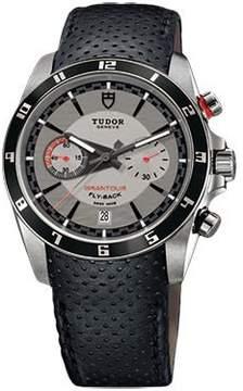 Tudor Grantour Silver Dial Chronograph Black Leather Men's Watch