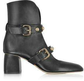 RED Valentino Black Leather Heel Booties w/Buckles and Studs