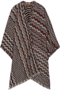 Missoni Fringed Crochet-knit Wool-blend Wrap - Black