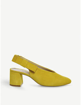 Office Magical bow-detail suede courts