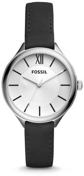 Fossil Suitor Three-Hand Black Leather Watch
