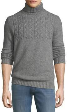 Neiman Marcus Mixed Cable-Knit Cashmere-Blend Turtleneck