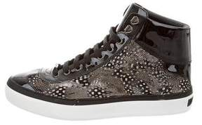 Jimmy Choo Argyle Feather-Trimmed Sneakers w/ Tags