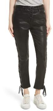 Frame Women's Lambskin Leather Lace-Up Crop Pants
