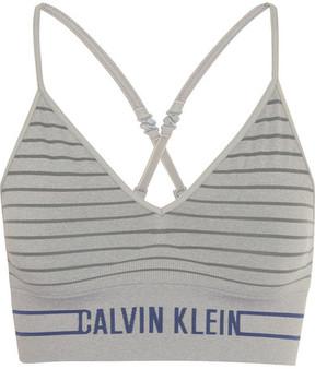 Calvin Klein Underwear Striped Stretch-jersey Soft-cup Bra - Stone