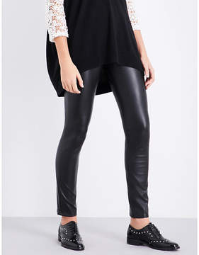 Claudie Pierlot Faux-leather skinny high-rise jeans