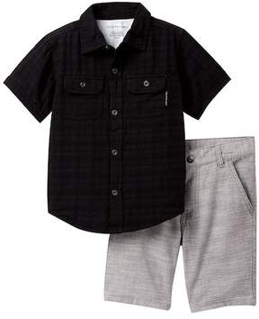 Calvin Klein Jacquard Woven Shirt & Woven Shorts Set (Little Boys)