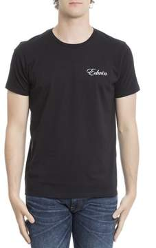 Edwin Men's Black Cotton T-shirt.