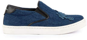Dolce & Gabbana Denim slip-on shoes with patches