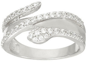 Diamonique As Is Snake Design Ring, Platinum Clad