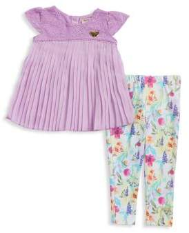 Juicy Couture Little Girl's Two-Piece Pleated Tunic and Floral Leggings Set