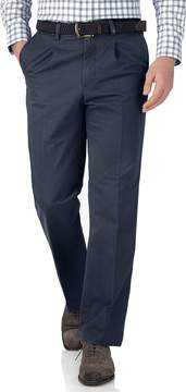 Charles Tyrwhitt Airforce Blue Classic Fit Single Pleat Cotton Chino Pants Size W34 L30