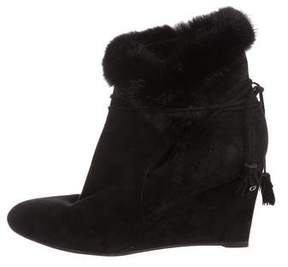 Christian Dior Mink-Trimmed Wedge Boots