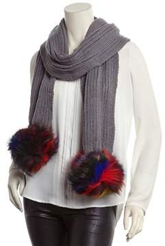 Jocelyn Light Grey Rib-knit Scarf.