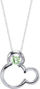 Disney Sterling Silver Mickey Mouse Pendant Necklace with Lab-Created Peridot