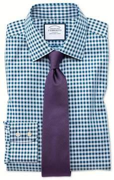 Charles Tyrwhitt Slim Fit Non-Iron Gingham Teal Cotton Dress Shirt Single Cuff Size 15.5/35