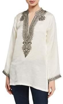 Bella Tu Azza V-Neck Long-Sleeve Linen-Blend Tunic w/ Metallic Bead Trim- Ivory