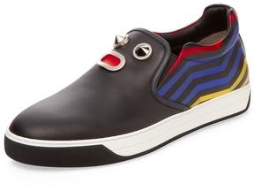Fendi Men's Leather Stripes Slip-On Sneaker