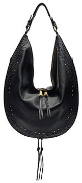 Etienne Aigner Moda Whip-Stitched Tasseled Studded Hobo Bag