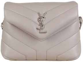 Saint Laurent Quilted Monogram Shoulder Bag - GRIGIO - STYLE