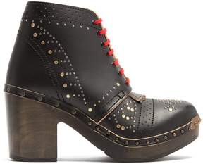 Burberry Lace-up studded leather ankle boots