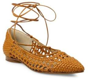 Michael Kors Kallie Woven Leather Lace-Up Flats