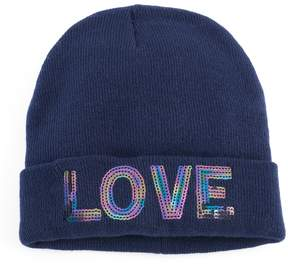 Mudd Women's Sequined Love Beanie