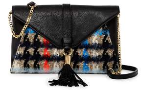 Milly Pied De Poule Tweed Leather Clutch