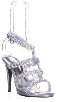 Caparros Elyzabeth Strappy Rhinestone Evening Sandals, Silver Metallic.
