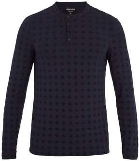 Giorgio Armani Long-sleeved flocked jersey henley top