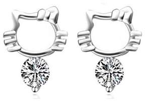 Alpha A A Designer Inspired Hello Kitty Shaped Earrings With Drop CZ