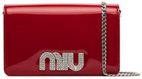 Miu Miu red embellished logo clutch