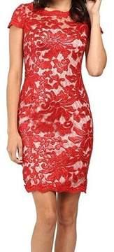 Calvin Klein Women's Sequined Lace Illusion Sheath Dress