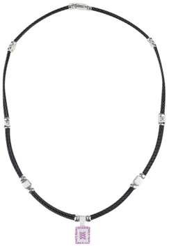 Charriol Celtic Noir 18K White Gold Stainless Steel with Diamond & Pink Sapphire Necklace