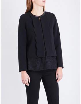 Claudie Pierlot Leather-trim woven jacket