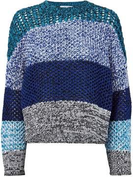 Derek Lam 10 Crosby Open Knit Colorblock Blue Sweater