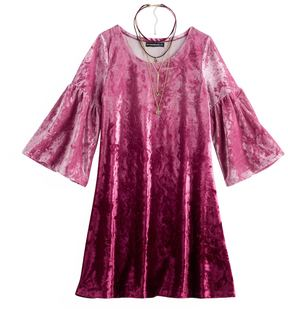 My Michelle Girls 7-16 Velvet Dip-Dye Dress with Choker Necklace