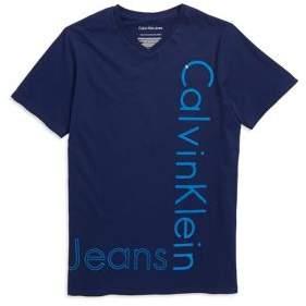 Calvin Klein Jeans Boy's V-Neck Logo Cotton Tee