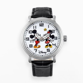 Disney Disney's Mickey & Minnie Mouse Men's Leather Watch