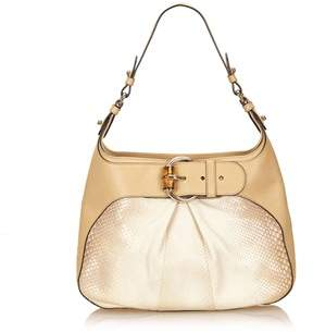 Gucci Pre-owned: Python Bamboo Shoulder Bag. - WHITE X IVORY X BROWN X BEIGE - STYLE