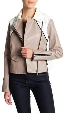 Bagatelle Colorblock Faux Leather Moto Jacket