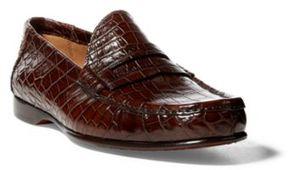Ralph Lauren Iliana Crocodile Penny Loafer Dark Brown 37.5
