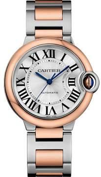 Cartier Ballon Bleu W2BB0003 Stainless Steel & 18K Pink Gold with Silver Dial 36mm Womens Watch
